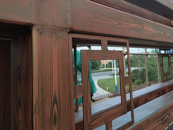 刚管廊架仿木纹漆施工效果