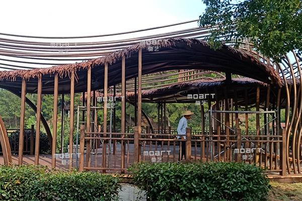 湖北武汉木兰花乡风景区2万平木纹漆施工